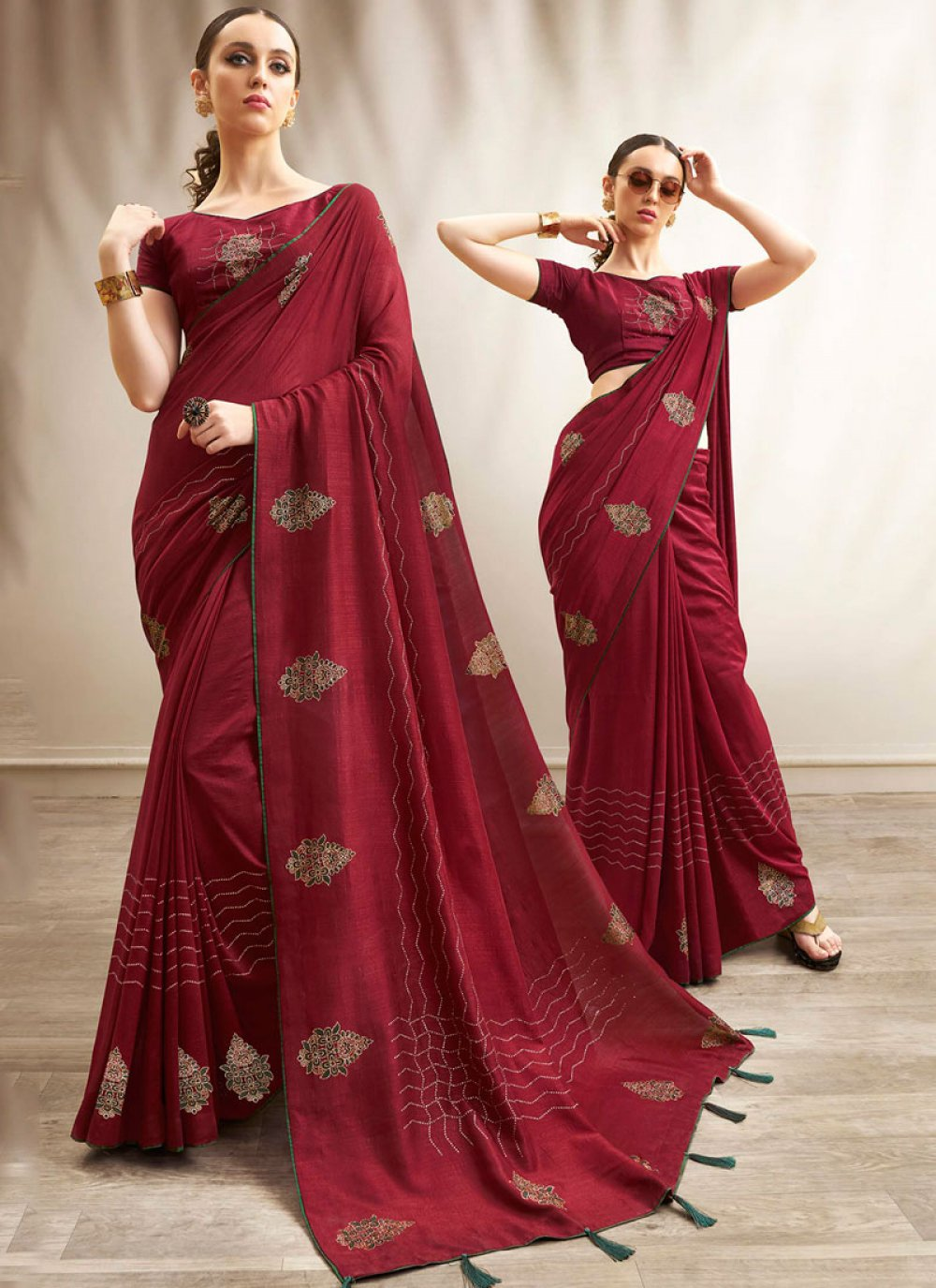Art Silk Print Maroon Traditional Saree