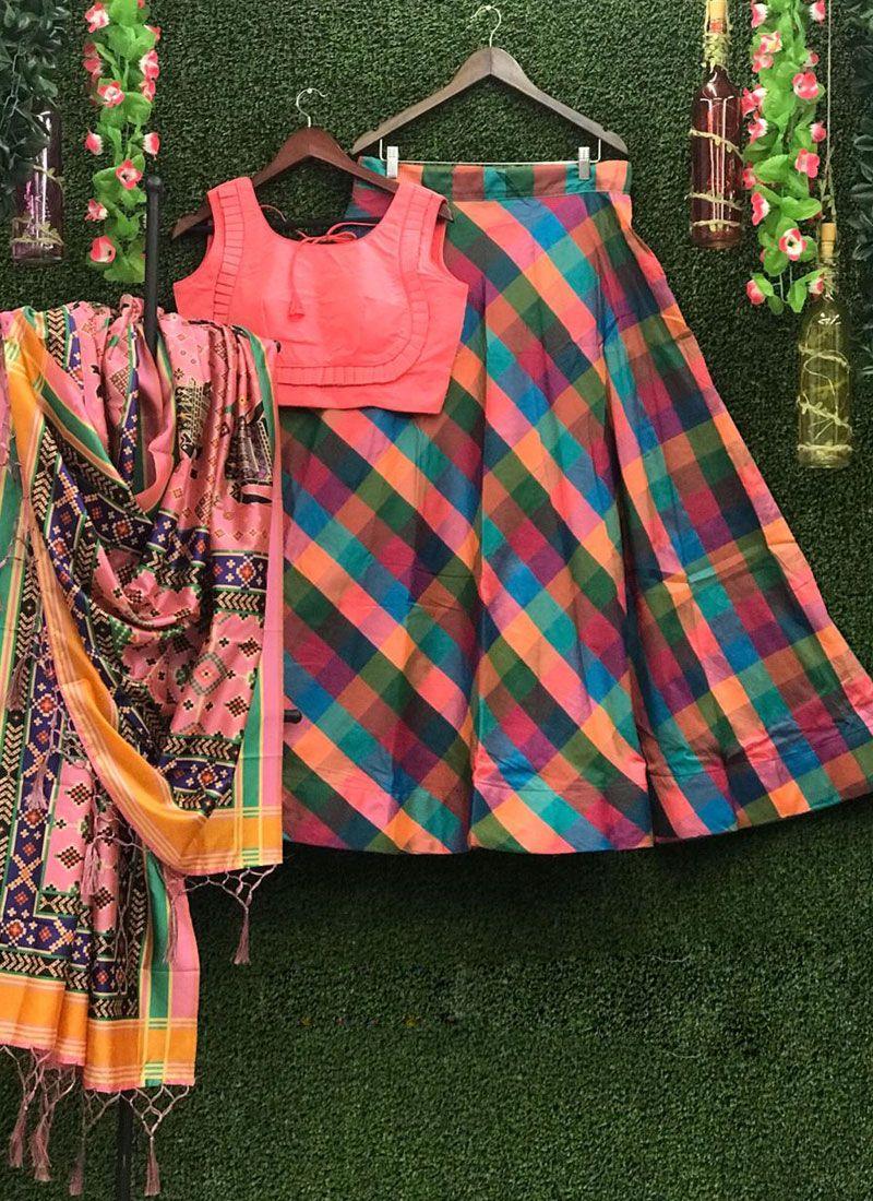 Art Silk Print Multi Colour Lehenga Choli