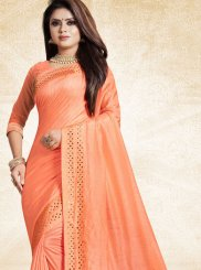 Art Silk Print Orange Traditional Designer Saree