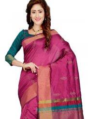 Art Silk Print Pink Traditional Saree