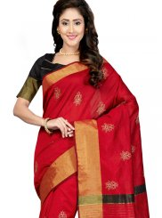 Art Silk Print Red Traditional Saree