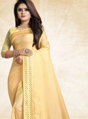 Art Silk Print Traditional Saree in Cream