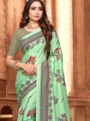 Art Silk Print Traditional Saree in Sea Green