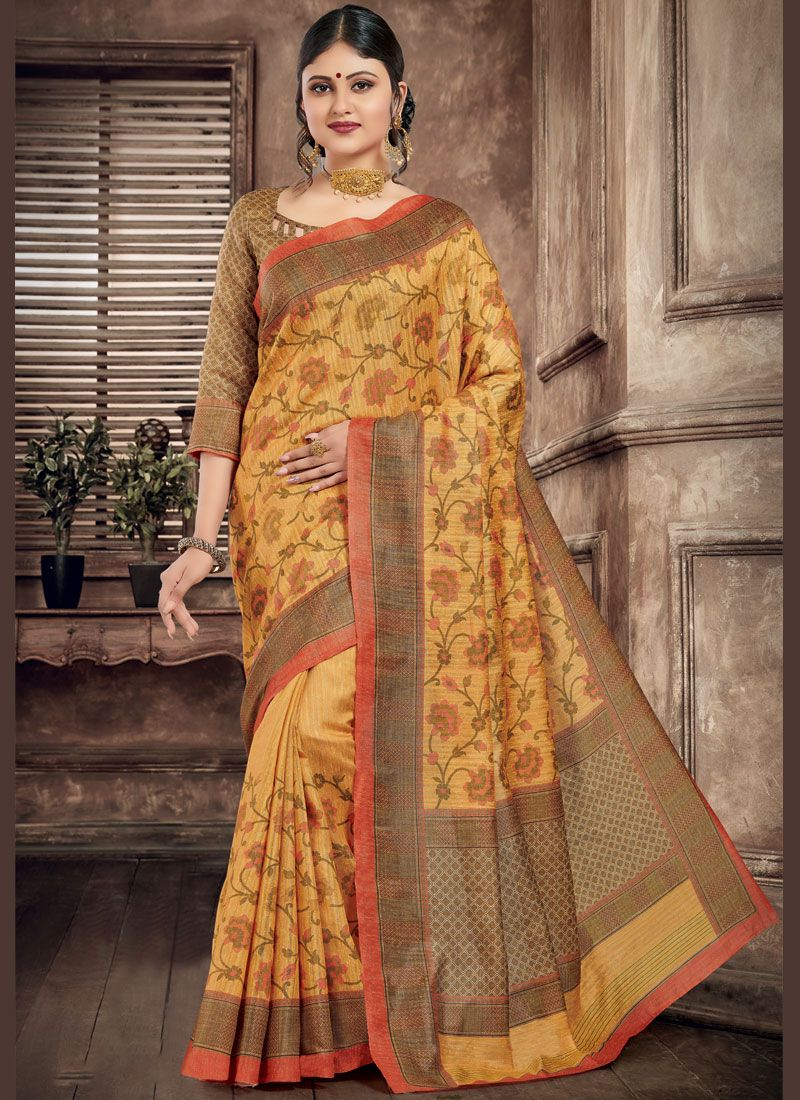 Art Silk Printed Saree in Multi Colour
