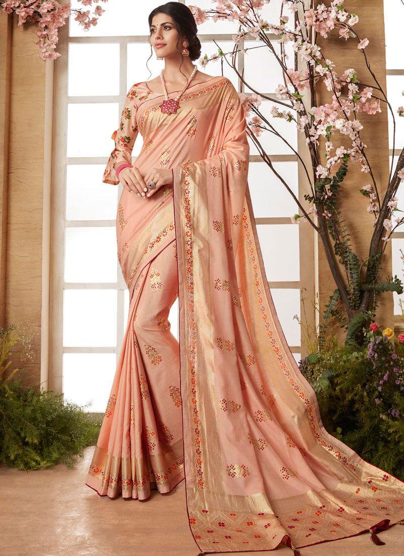 Art Silk Printed Saree in Peach