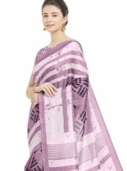 Art Silk Purple Abstract Print Printed Saree