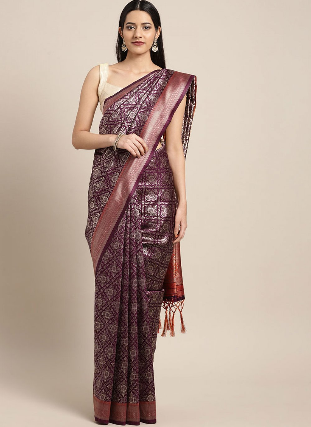 Art Silk Purple Classic Designer Saree