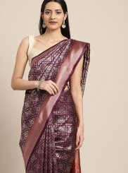 Art Silk Purple Classic Designer Saree