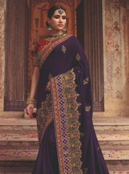 Art Silk Purple Classic Saree