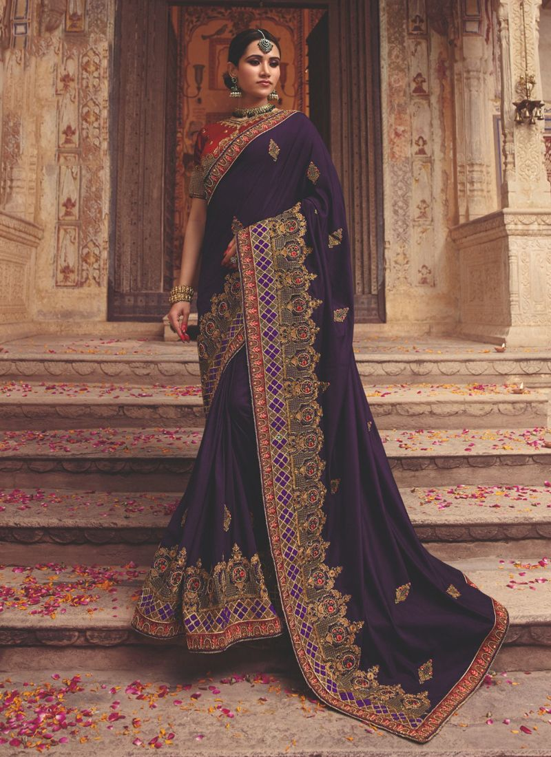 Art Silk Purple Classic Saree
