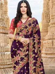 Art Silk Purple Designer Saree