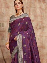 Art Silk Purple Designer Traditional Saree