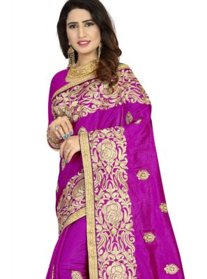 Art Silk Purple Embroidered Classic Designer Saree