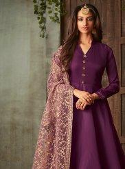 Art Silk Purple Embroidered Floor Length Anarkali Suit