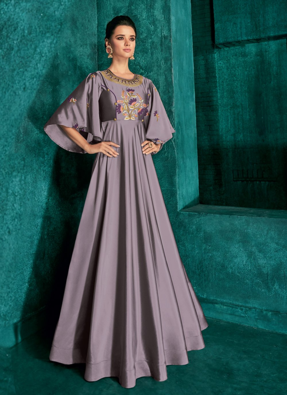 Art Silk Grey Embroidered Readymade Gown