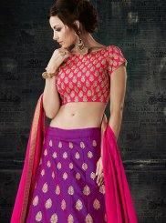 Art Silk Purple Lace Work Lehenga Choli