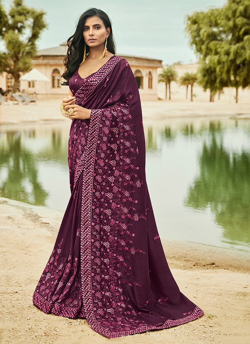 Art Silk Purple Patch Border Traditional Saree