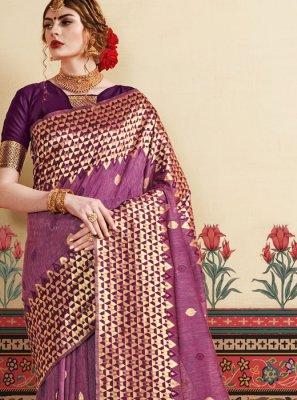 Art Silk Purple Silk Saree