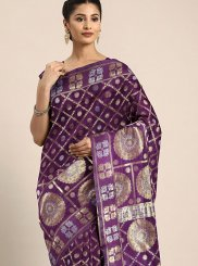 Art Silk Purple Silk Saree