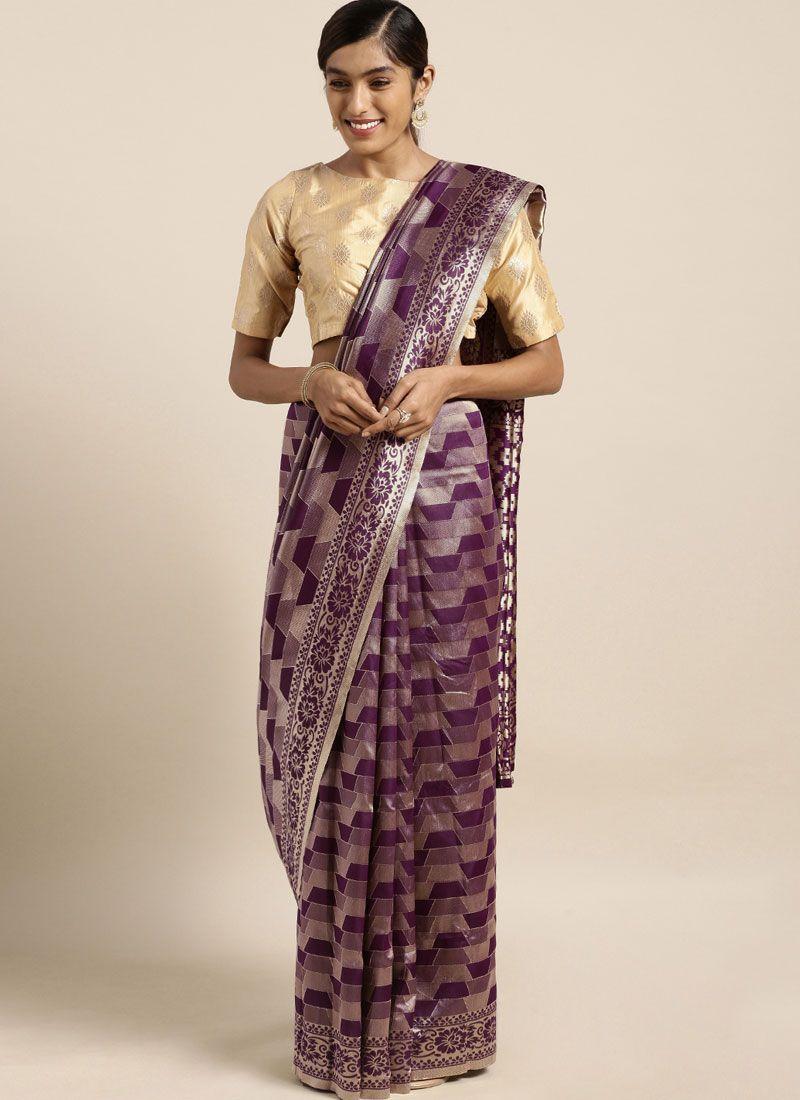 Art Silk Purple Weaving Traditional Saree