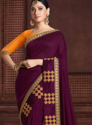 Art Silk Purple Zari Classic Saree