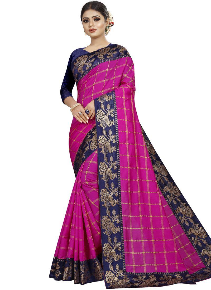 Art Silk Rani Patch Border Traditional Saree
