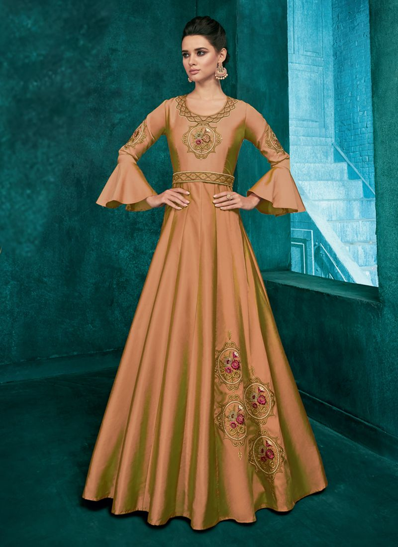 Art Silk Readymade Gown in Brown