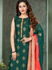 Art Silk Readymade Suit in Green