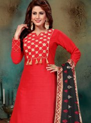Art Silk Readymade Suit in Red
