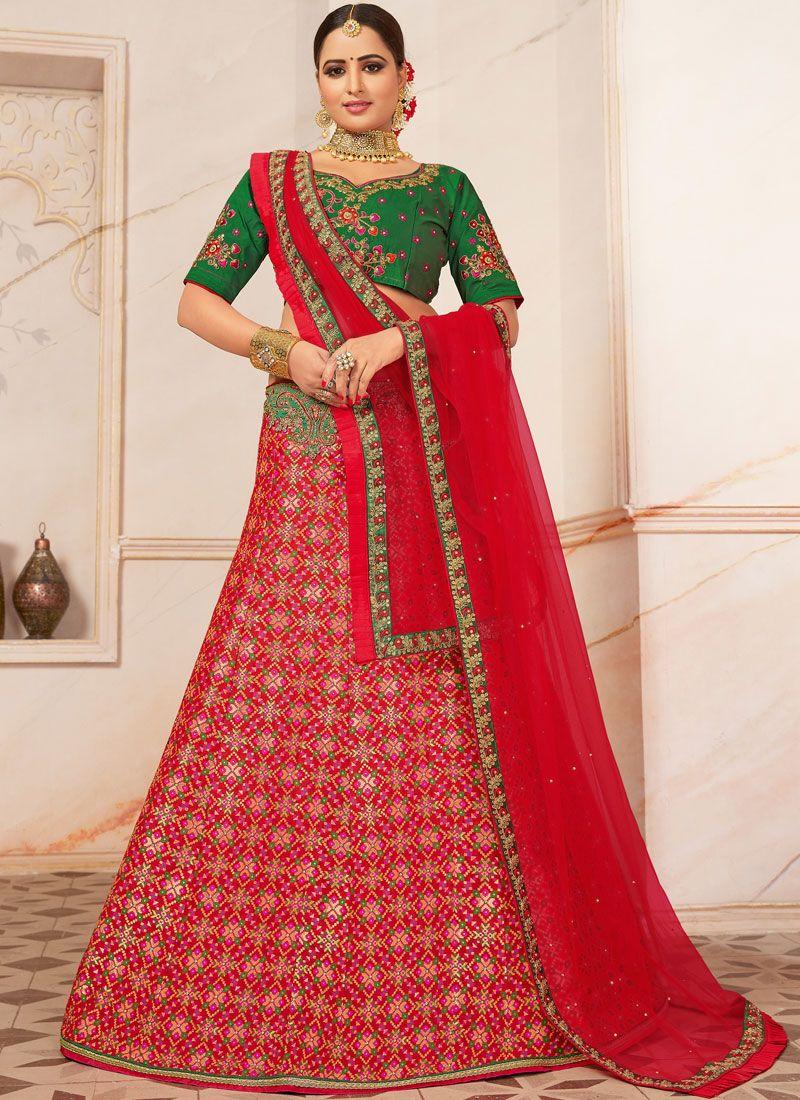 Art Silk Red A Line Lehenga Choli