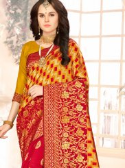 Art Silk Red and Yellow Weaving Half N Half Designer Saree