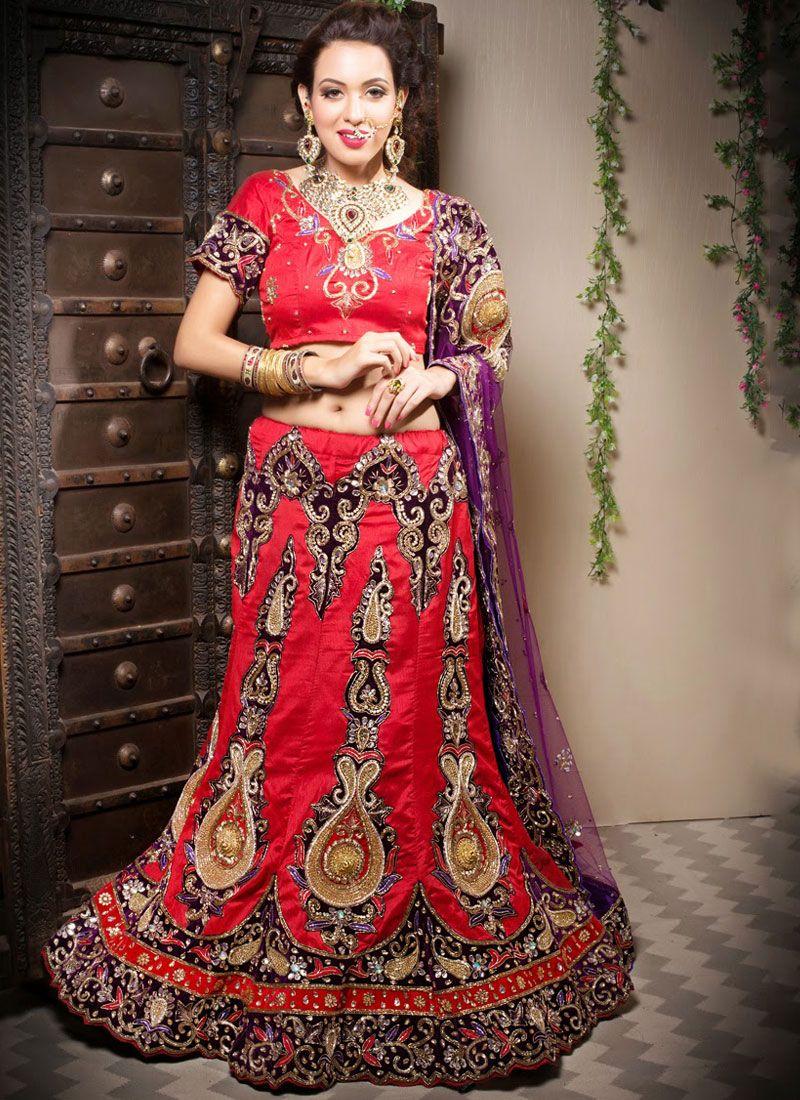 Art Silk Red Border Designer Lehenga Choli