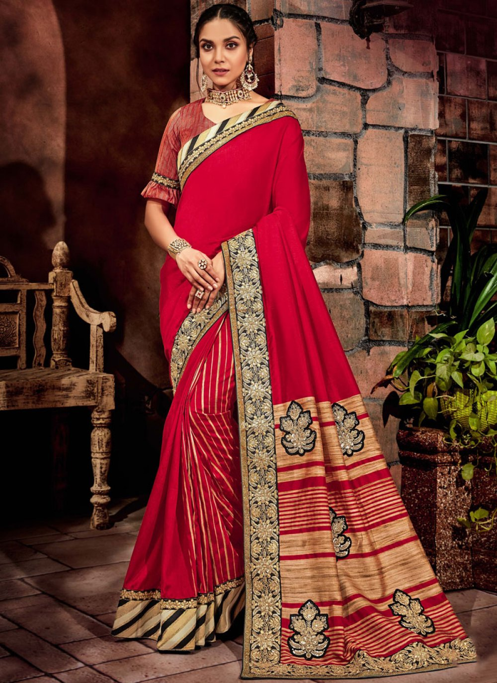 Art Silk Red Cord Classic Saree