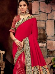 Art Silk Red Cord Classic Saree