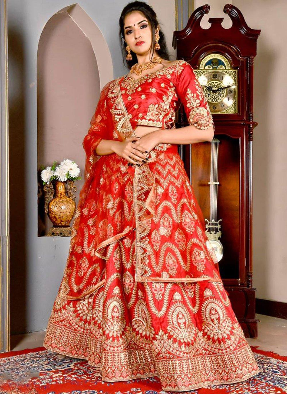 Art Silk Red Designer Lehenga Choli