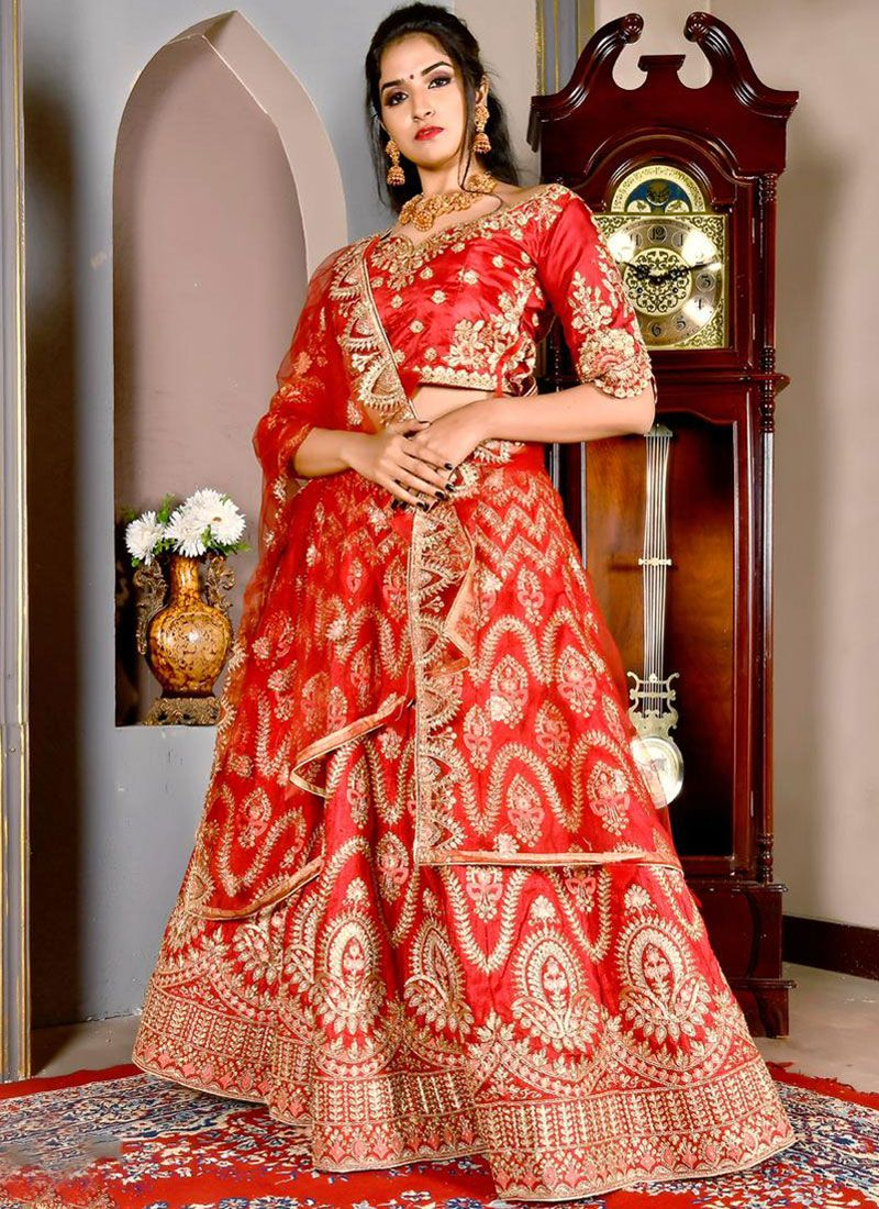 Art Silk Red Designer Lehenga Choli