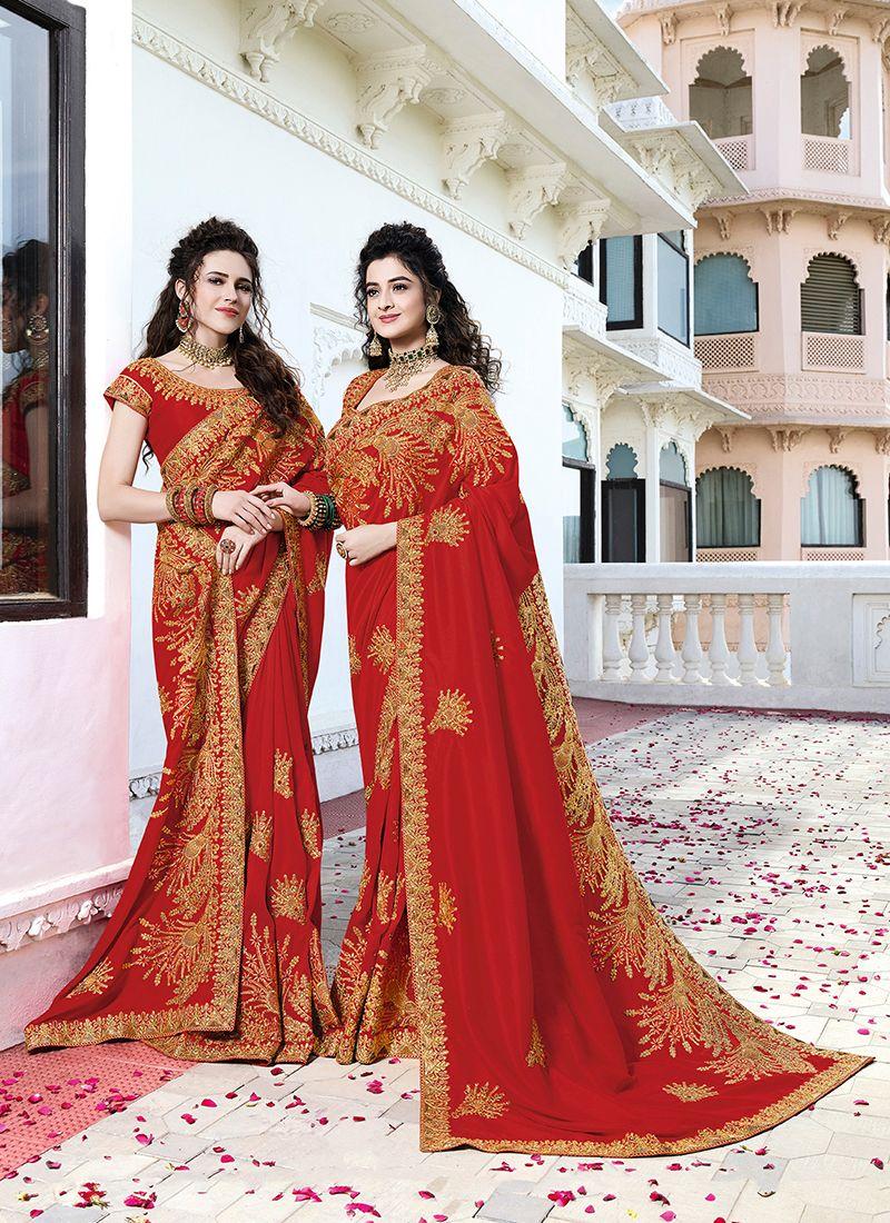 Art Silk Red Embroidered Designer Saree