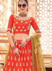 Art Silk Red Embroidered Lehenga Choli
