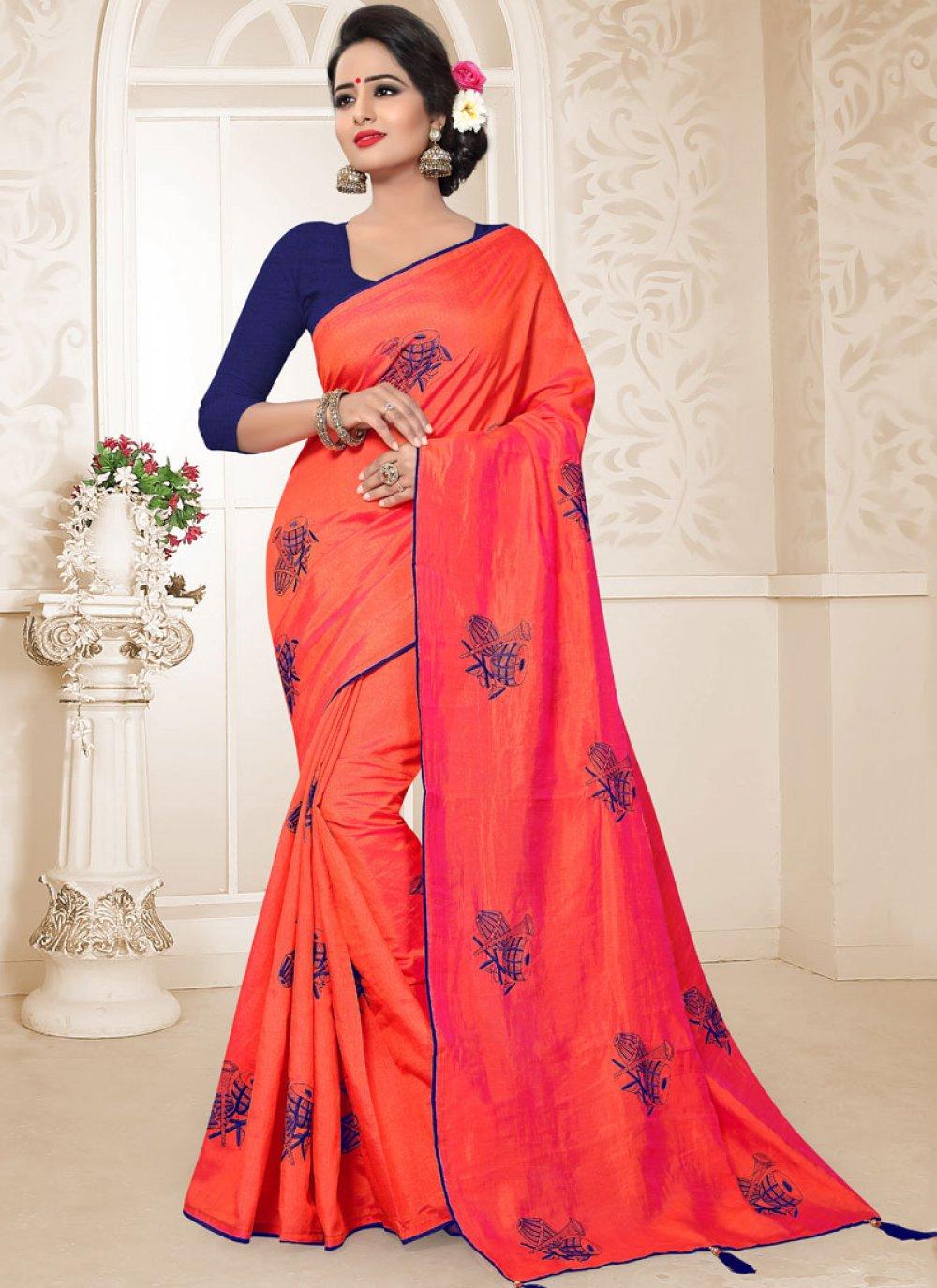Art Silk Red Embroidered Traditional Designer Saree