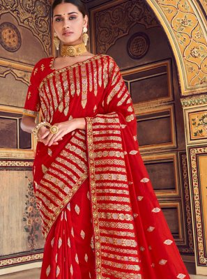 Art Silk Red Embroidered Traditional Designer Saree