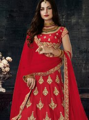 Art Silk Red Embroidered Work Lehenga Choli