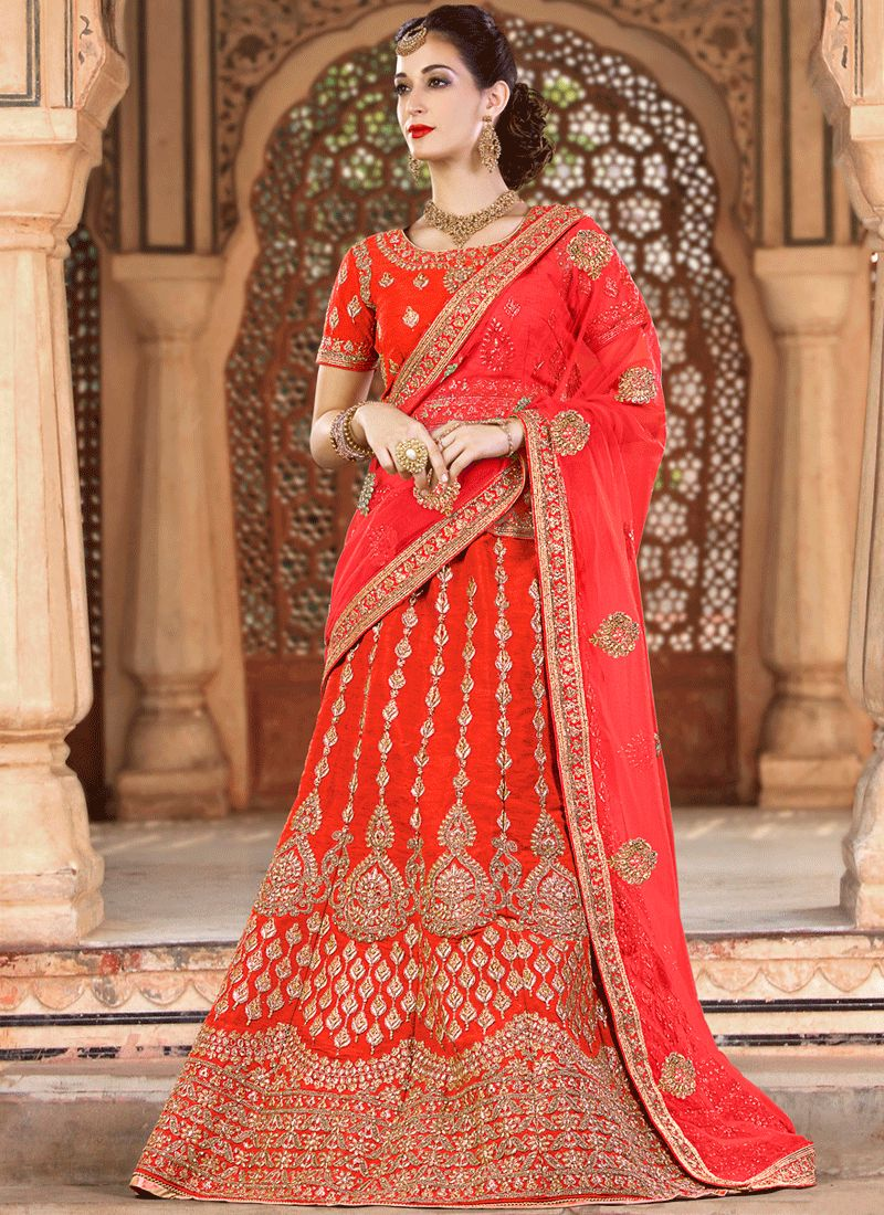 Art Silk Red Lehenga Choli