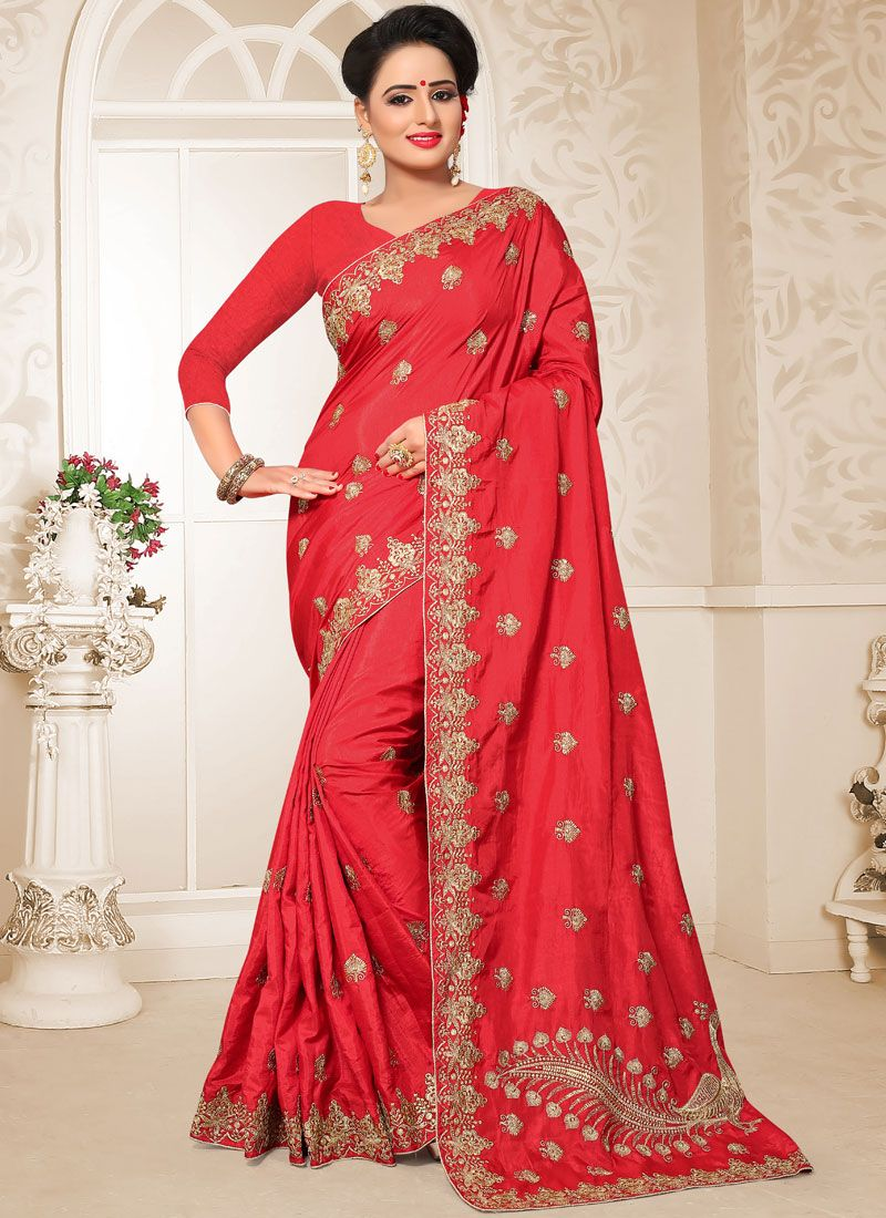 Art Silk Red Patch Border Designer Traditional Saree