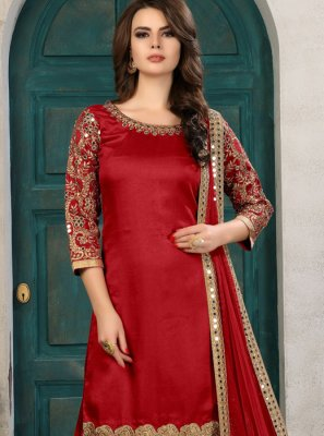 Art Silk Red Salwar Kameez