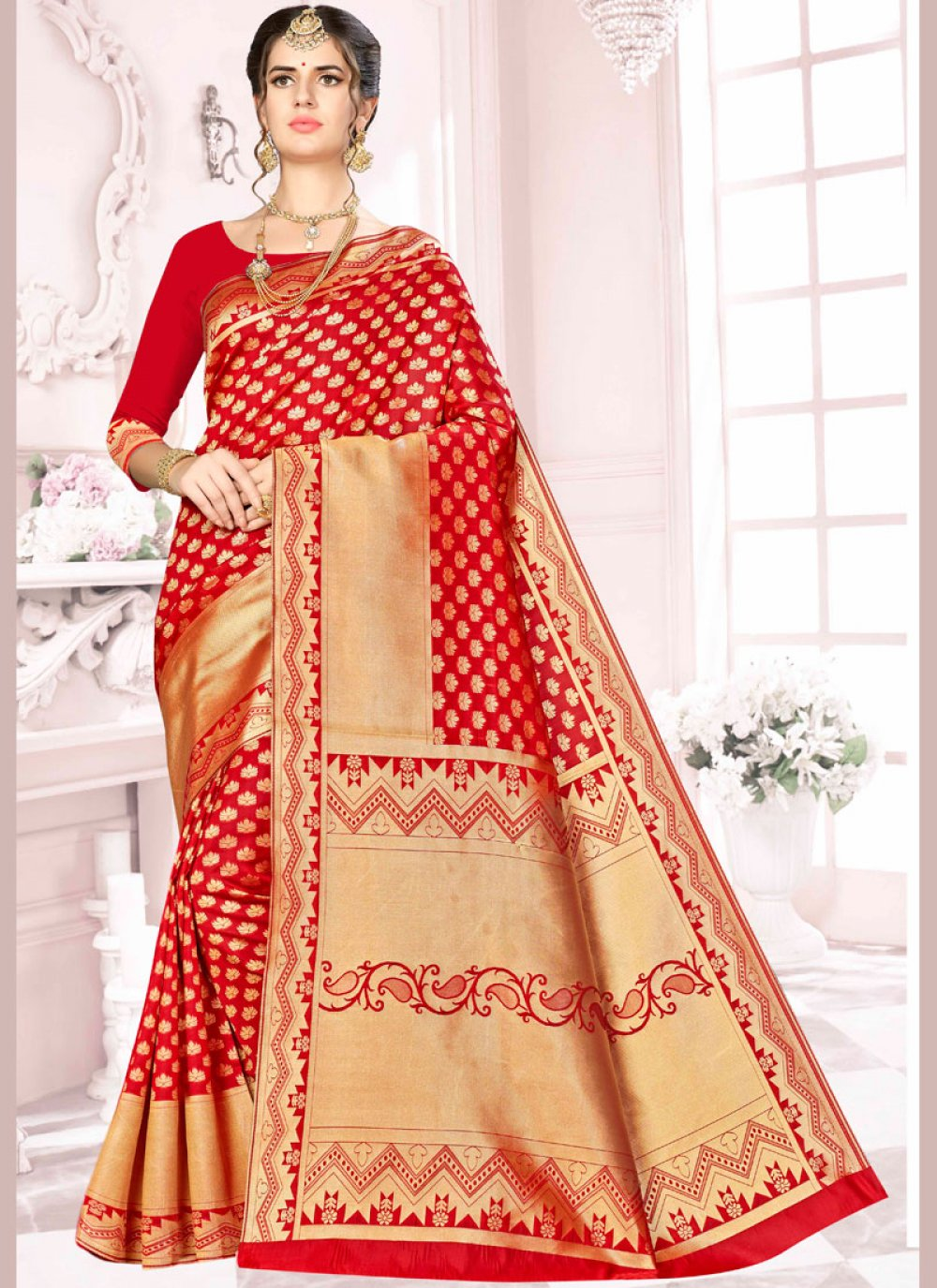 Art Silk Red Traditional Designer Saree