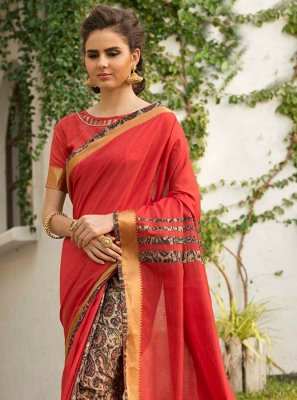 Art Silk Red Traditional  Saree