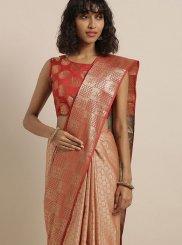Art Silk Red Weaving Classic Saree