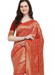 Art Silk Red Weaving Designer Traditional Saree