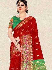 Art Silk Red Weaving Designer Traditional Saree