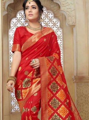 Art Silk Red Weaving Traditional Saree
